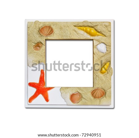 Frame of sea shell starfish and stones colored on white background