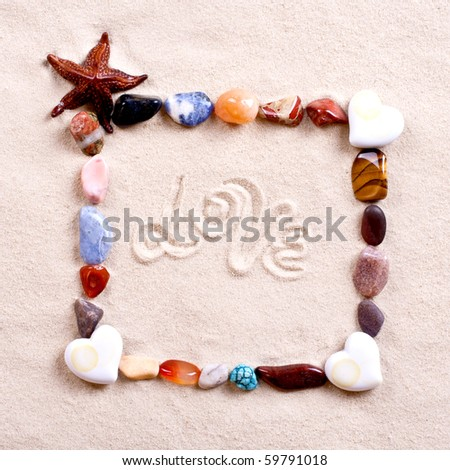 frame of shells in sand as a background