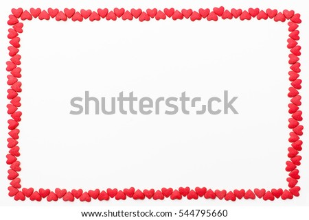 frame of small red hearts on a white background. Festive background for Valentine's day, birthday, wedding, holiday, postcard, party #544795660