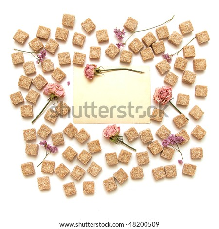 frame of sweet dreams on white background. Flower, sugar and place for text