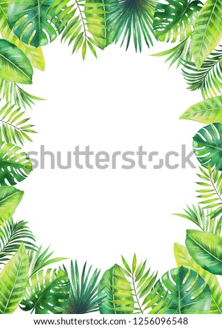 Frame of tropical leaves. Watercolor painting isolated on white background. #1256096548