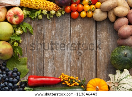 Frame Of Vegetables And Fruits/Harvest/Autumn