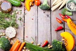 Frame of vegetables, herbs. Harvest, culinary, autumn background. Copy space
