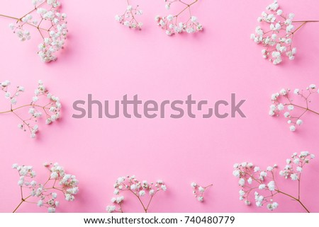 Frame of white flowers, gypsophila, Baby's Breath. Flat lay composition. Romantic concept. Top view. Copy space. #740480779