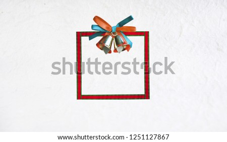 frame or border ribbon with bow on craft paper background happy new year and