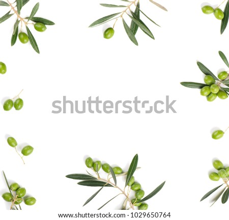 Frame or borders made of fresh green olive fruit with leaves isolated on white background. Top view.