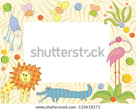 Frame or card with animals. Raster version, vector file available in portfolio.