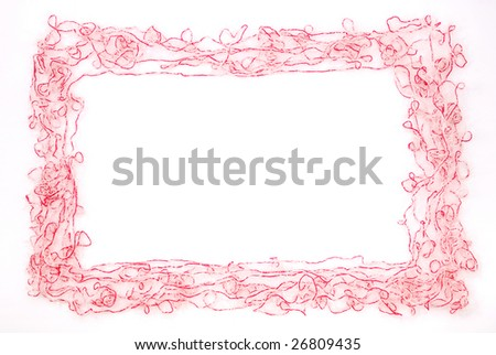 Frame. Red and white threads isolated on a white background