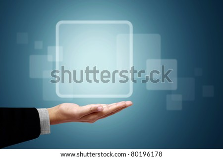 Frame white square above the business hand on a blue background.