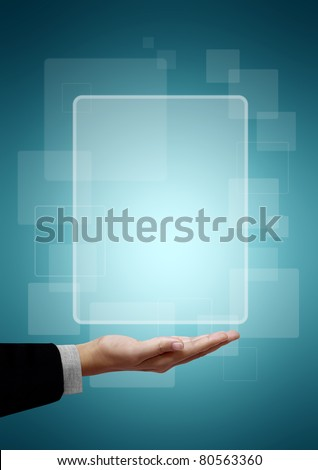 Frame white square above the business hand on a green background