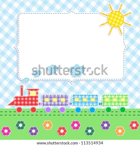 Frame with cartoon train. Raster version