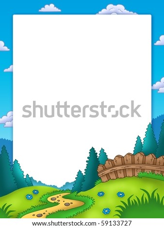 Frame with country landscape - color illustration.