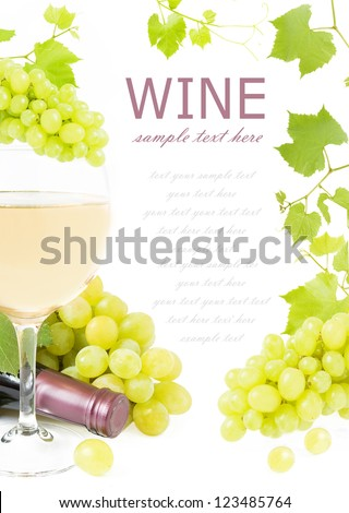 Frame with grapes branches, wine glass, vine and wine bottle isolated on white background with sample text