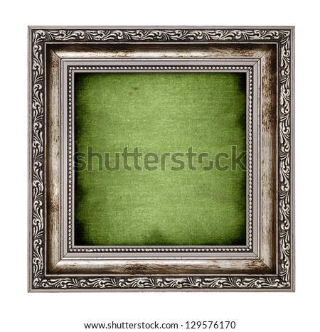 frame with green canvas isolated on white background