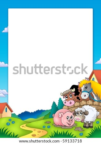 Frame with landscape and animals - color illustration.