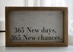 Frame with message of hope for the new year
