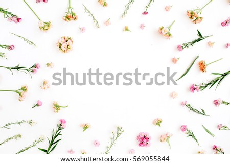 Frame with pink and beige wildflowers, green leaves, branches on white background. Flat lay, top view. Valentine's background