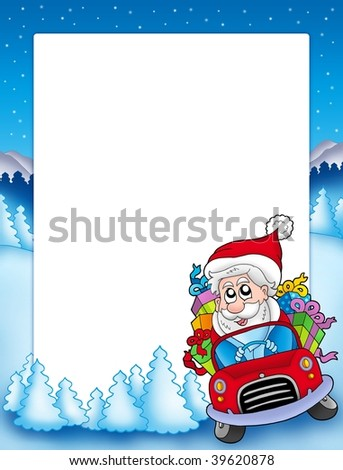 Frame with Santa Claus driving car - color illustration.