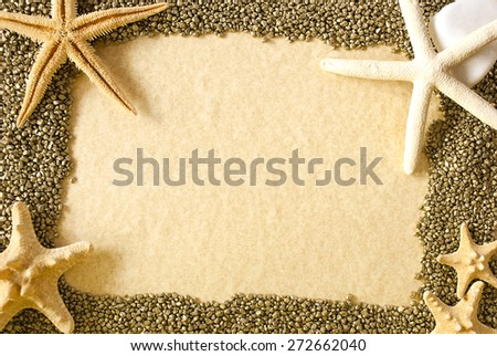 Frame with sea shells,stars and sand as background