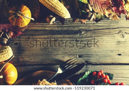 Frame with seasonal ingredients in Thanksgiving Day