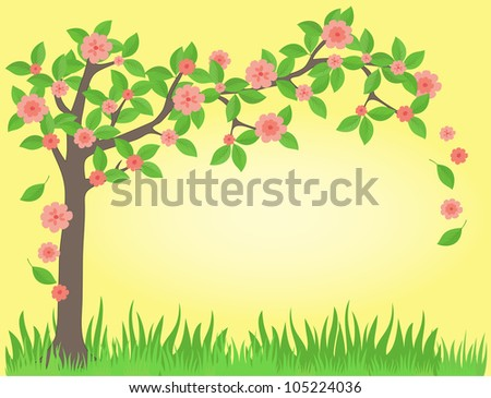 frame with tree and flowers