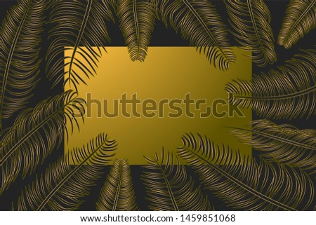 Frame with tropical palm leaves, promotion flyer, exotic background, banner with exotic branches, party invitation. Vector illustration