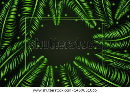 Frame with tropical palm leaves, promotion flyer, green exotic background, banner with exotic branches, party invitation. Vector illustration
