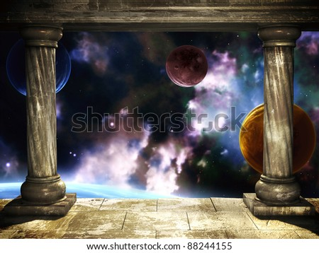 Frame with two medieval columns and space scene