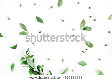 Frame wreath of green leaves on white background, Flat lay, top view. Flower background #592956338