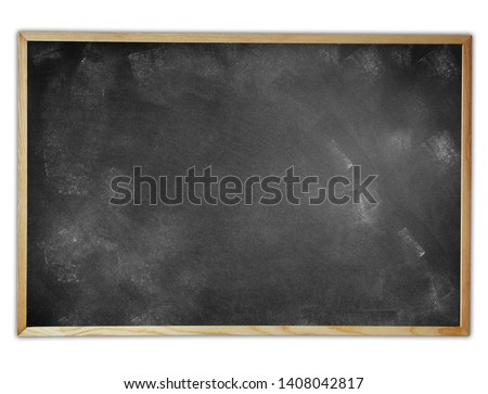 Framed blackboard or chalkboard on plain background
