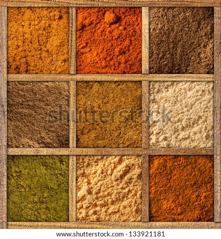 Framed collection of spices