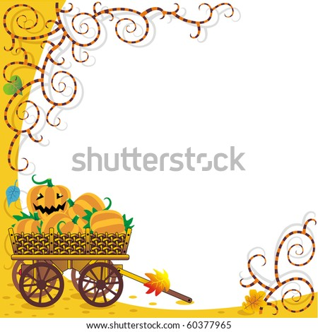 Framed Halloween or autumn background with funky vines and wagon full of pumpkins ( for vector EPS see image 60377962 )