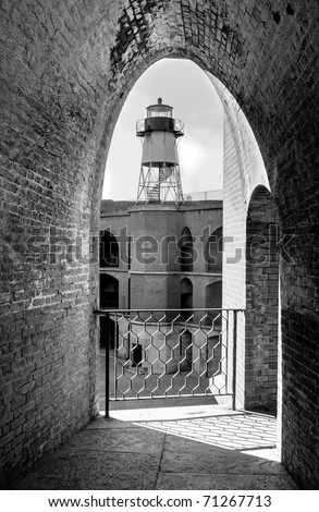 Framed lighthouse at Fort Point National Historical Site in San Francisco, California
