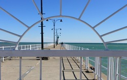 Framed view of pier at Lakeview Park, Oshawa, Ontario, Canada