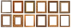 Frames baguettes gold silver set isolated on white background pattern.