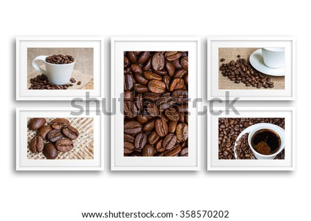 Frames collage with collection of coffee motif posters