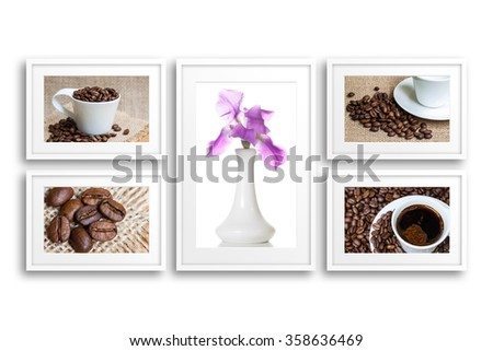 Frames collection with collage of coffee motif pictures and vase with iris flower
