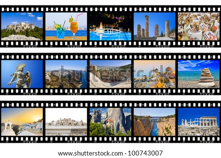 Frames of film - Greece nature and travel (my photos) isolated on white background