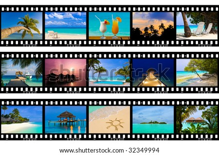 Frames of film - nature and travel (my photos), isolated on white background