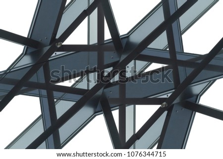 Frames of structural glazing. Abstract modern architecture close-up photo with fragment of polygonal facade, wall, ceiling or roof. Generic office or public building with empty frames / cells.