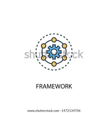 Framework concept 2 colored line icon. Simple yellow and blue element illustration. Framework concept outline symbol design