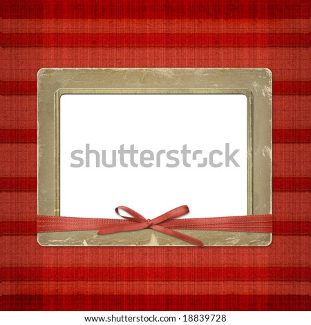 Framework for a photo or invitations. A red bow. A beautiful background.