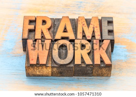 framework word abstract in vintage letterpress wood type
