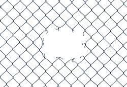 Framing Image Of A Hole In A Chain-Link  Fence On A White Background