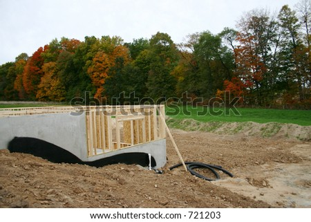 Framing of a Basement - Side View - stock photo