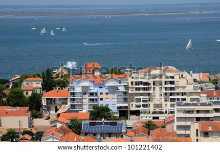 France, a general view of Arcachon and Atlantic ocean