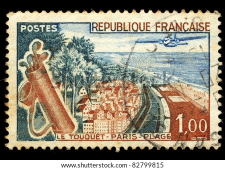 FRANCE - 1961: A stamp printed in France shows Le Touquet-Paris-Plage, circa, 1961