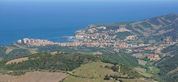 France, aerial view of seaside town Banyuls sur Mer on the Mediterranean coast, Pyrenees Orientales, Roussillon, Occitanie