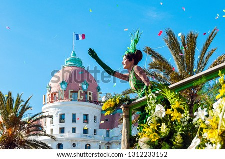 France, Alpes-Maritimes (06), Nice. 03/05/2014. Carnival, flower battle on the Promenade des Anglais #1312233152