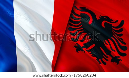 France and Albania flags. 3D Waving flag design. France Albania flag, picture, wallpaper. France vs Albania image,3D rendering. France Albania relations alliance and Trade,travel,tourism concept
